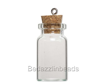 Little 1 1/2 inch Clear Empty Glass Bottle Keepsake Jar Charm Pendant With Cork Lid & Loop