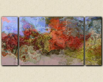 "Contemporary art stretched canvas print, 30x60 to 40x78, abstract art in earthy red, blue and green, from abstract painting ""Burning River"""