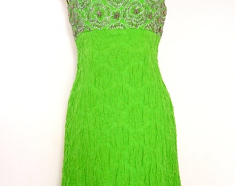 LIME Green BEADED and Quilted 1960's DRESS