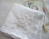 White Silk Ribbon Embroiderey Crocheted Wedding Keepsake  Handkerchief Bride Mother Of The Bride Or Groom Grandmother Made by HandcraftUSA