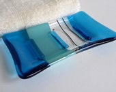 Fused Glass Soap Dish in Bright Turquoise