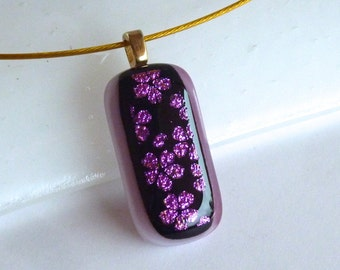 Fused Glass Pendant with Cherry Blossoms over Cranberry and White