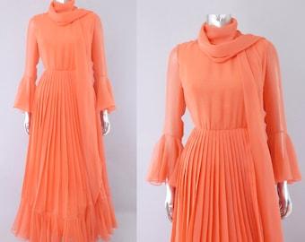 Bill Blass chiffon maxi dress | 1970s maxi dress | vintage 70s dress