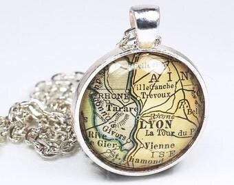 Lyon Map Necklace- Vintage France Map Pendant Jewelry from a 1929 Atlas, France Map Necklace, Lyon Necklace, Lyon Pendant Necklace