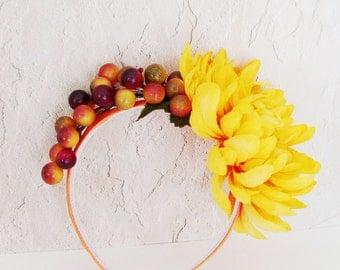 Yellow Orange Mum - Berries Headband / Autumn Harvest Fashion / Orange & Gold Berries - Mum Flower / OOAK Fall Head Piece / Gift Under 60