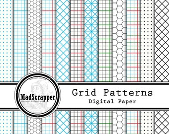 Digital Scrapbook Paper Grid Paper 12 Patterns 4 Solids 12 x 12 Instant Download