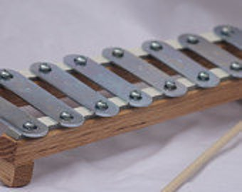 Toy Xylophone - Handcrafted Toy Natural Oak Wood Frame Xylophone - Toy Childrens Xylophone - Natural Oak Wood Frame - Sheet music included