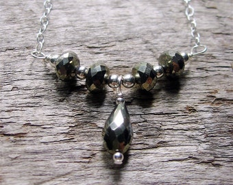 Pyrite Necklace, Pyrite Sterling Silver Necklace, Autumn Jewelry