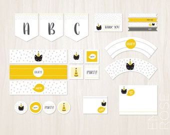 Kitty Cat Birthday Party DIY Decoration Pack | Birthday Invite | Yellow and Gray | Customized | Instant Download