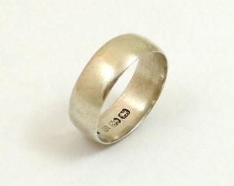 Antique Wedding Band, Sterling Silver, Made in England, Birmingham 1911, US Size 6.75, UK Size N