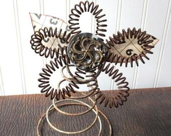 Folk art flower upcycled wire sping bed spring bedspring vintage hardware elements mixed media N4