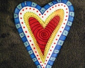 Paper Clay Heart Wall Plaque  - Red Multi