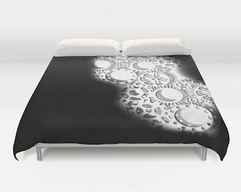 Gears Duvet Cover, Black White Decorative bedding, Industrial Decor, Steampunk bedding, Modern Decor, Dorm, Steam punk Bedding, Contemporary
