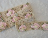 1 YD + 20 Inches Ivory Cream Crocheted Lace Pink Satin Rose Ribbon Flower Trim Vintage Like Baby Quilt Bridal Dress Veil