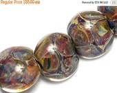 ON SALE 30% OFF Seven Blue-green & Purple Lentil Beads -10408102-Handmade Lampwork Glass