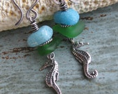 Green Seaglass and Blue Tile Seahorse Charm Earrings - The Cortez Collection