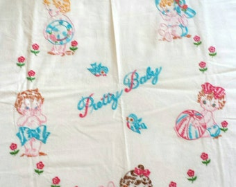 Vintage Hand Embroidered Crib Bedspread Pretty Baby Crib  Bedcovering