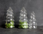 Trio of Vintage Glass Christmas Tree Candy Holders, Terrariums, Christmas Decor, Holiday
