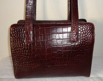 M LONDON croco embossed genuine leather med size Boston bag , top zip satchel, city bag , dual strap work bag, lunch box vintage mahogany