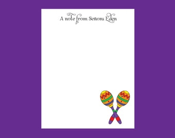 Spanish Teacher Notepad, Maracas, Teacher gift, stocking stuffer, espanol