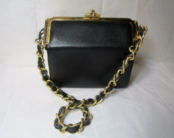 Leather Box Purse Black Caprice Leather bag