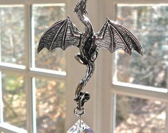 "Pewter Dragon and Swarovski Crystal Suncatcher, Black and Clear Swarovski Crystals, Dragon Window Hanger, Rainbow Maker, Ornament - ""Onyx"""