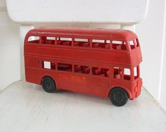 Vintage Red Bus, Toy Bus, Red Bus, Double Decker Bus, Christmas Decor, British Decor,