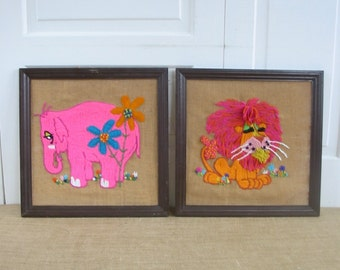 Vintage Embroidery, Crewel Needlepoint Animals, Fiber Art Elephant Lion, Child Baby Nursery Decor, Pink Orange Embroidery, Animal Embroidery