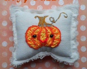 Fall Preview SALE Sweet Pumpkin Hand Embroidered Rustic Pillow Ready to Ship YelliKelli