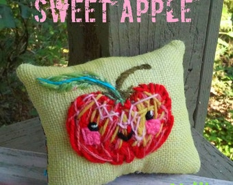 Sweet Apple Mini Pillow Hand Embroidered Made to Order
