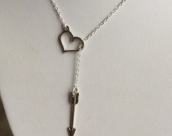 Arrow Thru Heart Necklace, heart and arrow charm, heart pendant, haeart lariat necklace