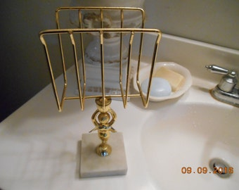 Vintage Shabby Chic Look Fingertip Towel Holder for Bathroom Gold Angel center