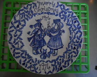Vintage 1974 Merry Christmas Plate Blue and White A Happy Holiday to You Crownford China Co by Norma Sherman England