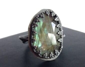 Modern Labradorite Wrap Ring - Statement Ring - Green Labradorite Wrap Ring