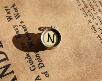 Typewriter Key Necklace Letter N