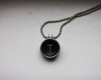Vintage Typewriter Letter T Typekey Pendant on Ball Chain