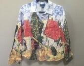 Painted Artscapes Blouse, Vintage 80s Art Blouse Southwest Button Down Shirt Farmhouse Americana Country Painting Shirt 1980s M Bohemian