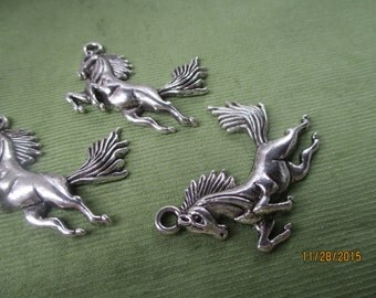 2 Tibetan Silver Charms  Flying Horse