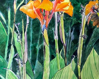 """LARGE painting Original watercolor canna flowers tropical wall art by Paige Smith-Wyatt ready to hang 30"""" x 40"""""""