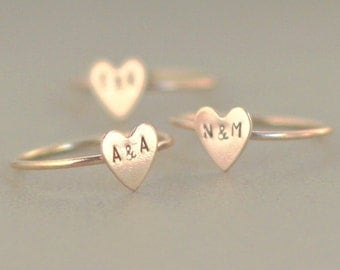 initial ring. gold heart ring. 14k gold filled stacking RING. custom initial jewelry. couples ring. best friend ring. Valentine's Day ring.