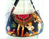 Reserved for Pam, 1 of 3 Rockabilly saddle bag, cell phone pouch, cosmetic wallet clutch