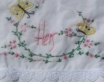Sew Pretty Pillowcases - His and Hers - Butterflies - Set of 2
