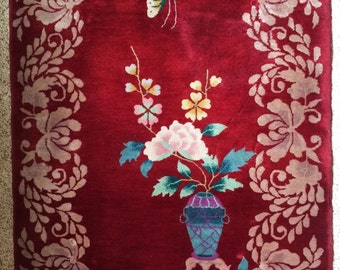 Vintage Art Deco Chinese Wool Rug with Butterfly and Vase of Flowers in Burgundy, Mauve, Blue, Lavender, White, and Green 3 by 5 Feet Long