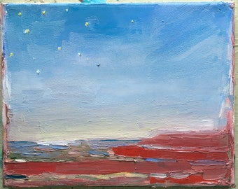 Red, white and blue, Original oil painting on canvas