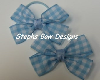 Set 2 Baby Blue & White Gingham Checker Hair Bow set So Cute for Easter Matches Dorothy The Wizard of Oz 4 Halloween