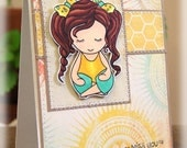 Miss You Yoga Girl Handmade OOAK Greeting Card