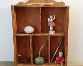 Vintage Hand Made Wooden Display Cubby Shelf..1960's Wooden Rustic, Cabinet of Curiosities, Weathered Worn Shabby Store Display