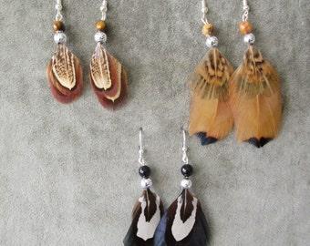 Pheasant earrings . . . . handmade . . . set of 3 pairs . . . . .SET 003