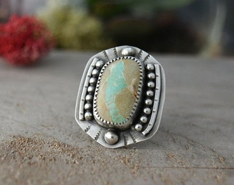 SALE Turquoise Ring. Southwestern Ring. Natural Royston Ribbon Turquoise Stone Sterling Silver Ring. Big Statement Ring. Size 6.5