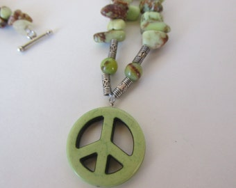 green beaded peace sign necklace